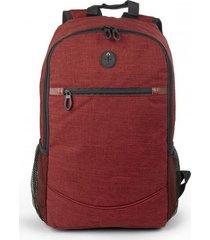 bolso maleta morral tokio con salida de audifonos bolsillos - rojo