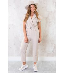 pocket jumpsuit beige