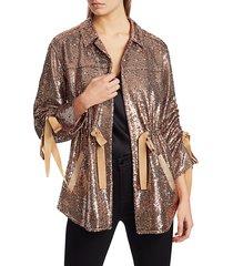 cinq à sept women's mathieu sequin jacket - gunmetal - size xxs