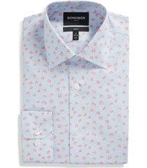 men's bonobos slim fit stretch floral dress shirt, size 16.5 - pink