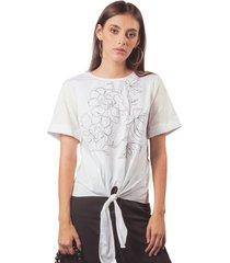 camisa adrissa manga corta bordado en contraste ivory