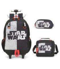 kit mochila infantil star wars com lancheira e estojo duplo preto