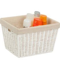 honey can do parchment cord tote with liner, white