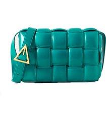casette padded intrecciato leather shoulder bag