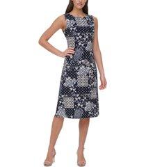 tommy hilfiger patchwork-print midi dress