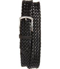 men's canali woven leather belt, size 32 - black