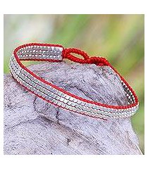 sterling silver beaded bracelet, 'shimmering road in red' (indonesia)