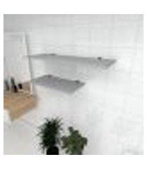 kit 2 prateleiras banheiro em mdf suporte tucano cinza 1 60x30cm 1 90x30cm modelo pratbnc14