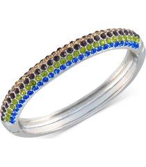 guess silver-tone multicolor crystal bangle bracelet