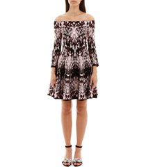alexander mcqueen archive print off-shoulder dress