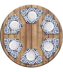 jogo americano love decor para mesa redonda wevans blue kit com 6 pçs