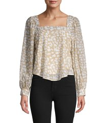 lucca women's abstract balloon-sleeve top - beige - size s
