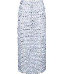alessandra rich tweed embroidered midi skirt - blue