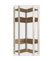 closet aberto canto com prateleiras e cabide off white com itapuá completa móveis