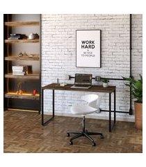 mesa de escritório kuadra marrom escuro 135 cm