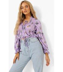 geplooide chiffon bloemenprint blouse, lilac