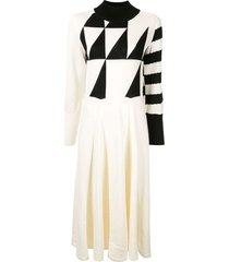 akira naka fine knit patterned dress - white