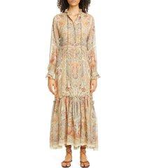 women's etro paisley long sleeve silk maxi dress, size 8 us - ivory
