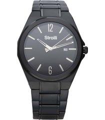 orologio solo tempo con cinturino e cassa in acciaio nero, quadrante nero per uomo
