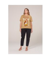 camiseta regular em algodão com estampa animal - amarelo