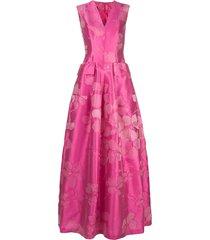 talbot runhof floral jacquard full dress - pink