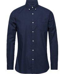 elder ls oxford shirt - gots/vegan overhemd business blauw knowledge cotton apparel