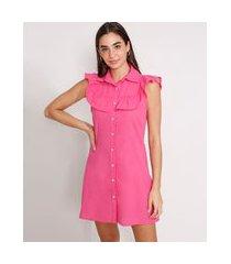 vestido chemise de algodão com babado curto sem manga pink