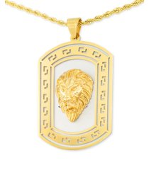 "legacy for men by simone i. smith lion's head two-tone 24"" pendant necklace in stainless steel & yellow ion-plate"