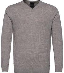 100 % merino v-neck knit stickad tröja v-krage grå lindbergh