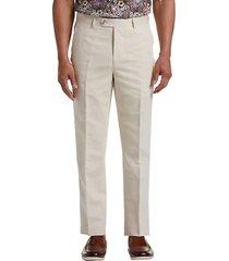 joseph abboud men's cream linen & cotton blend dress pants - size: 48w