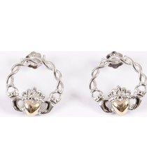 10k gold & silver claddagh stud earrings