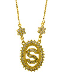 colar horus import letra s zircônias dourado