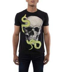 men's snake skull rhinestone short sleeve t-shirt