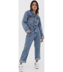 macacão jeans forum reta bolsos azul - kanui