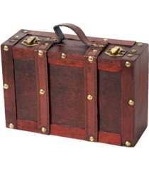 vintiquewise old fashioned small suitcase with straps