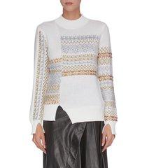 'fairisle' panelled patchwork slit cuff sweater