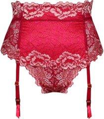 icollection plus size hi-waist garter thong 2pc lingerie set