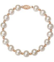 belle de mer pink or white cultured freshwater pearl (7-1/2mm) bracelet in 14k rose gold