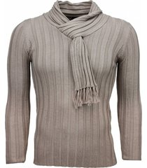 justing casual trui sjaalkraag design strepen motief