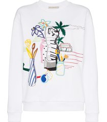 mary katrantzou saker bead embroidered cotton sweatshirt - white