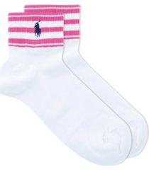 polo women's cuff stripe ankle quarter socks