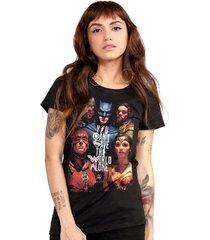 camiseta liga da justiça dc comics poster bandup! feminina