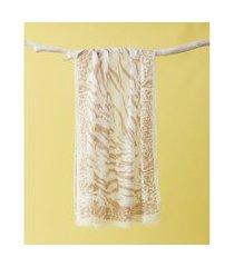 lenço estampado - lenço japão cor: cáqui - tamanho: único