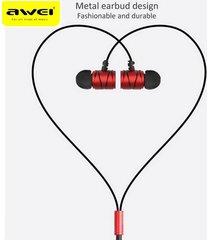 audífonos bluetooth, awei q5i auriculares metálicos del deporte del juego del auricular del juego (rojo)