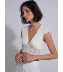 sutiã le lis blanc detalhe manga ana 2 underwear off white feminino (off white, gg)