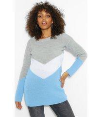 zwangerschaps oversized colour block trui, lichtblauw