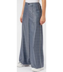 ganni women's merkel wide leg trousers - serenity blue - eu 36/uk 8 - blue