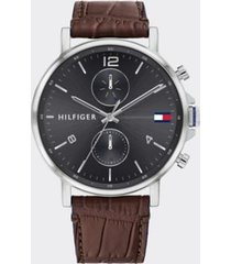 tommy hilfiger men's dress watch with brown leather strap brown/silver -
