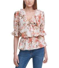 calvin klein ruffled floral-print blouse