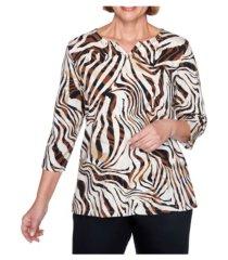 alfred dunner women's zebra print top